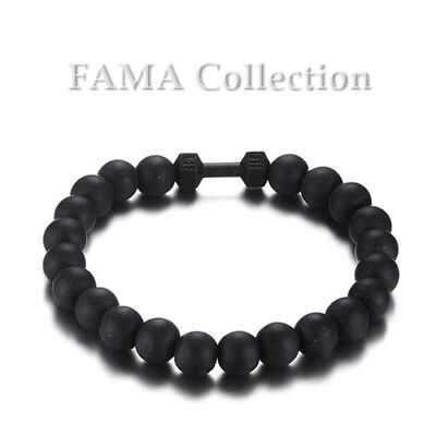 FAMA Matte Black Onyx Bead Stretch Bracelet w/ Stainless Steel Black IP Barbell