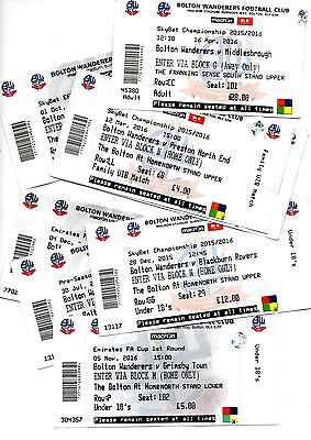 8 bolton wanderers home ticket stubs