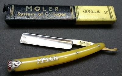 Vintage •MOLER SYSTEM of COLLEGES• Straight Razor with Original Box