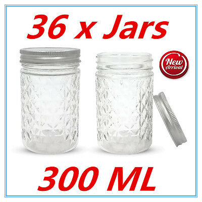 36 x QUILTED CONSERVE JAM CANDLE MAKING GLASS JARS JAR 300ML CANDY EVENT PARTY W