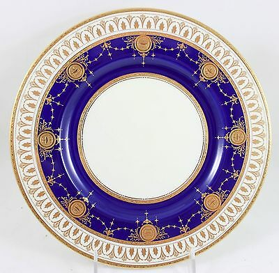 TIFFANY MINTON China asH3753 DINNER PLATE Cobalt Blue Raised Gold Encrusted