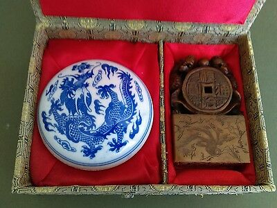 Chinese Soapstone seal in original box with blue dragon dish and wax