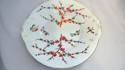 Vintage Bread or Cake Plate With Floral & Butterfly Decoration Hand painted