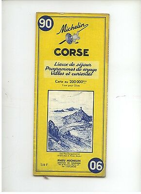 La Corse. Carte routiere ancienne Michelin.