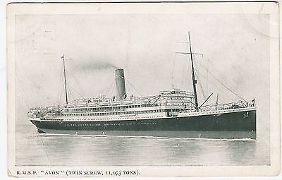"""ROYAL MAIL STEAM PACKET """"AVON"""" - 1913 used postcard - (with a light crease)"""