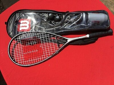 """Wilson Squash Racket In Case With Water Bottle And 2 Balls 27"""" Long Ti Power"""