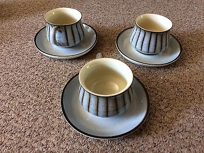 DENBY STUDIO STONEWARE : 3 x TEA CUPS AND SAUCERS