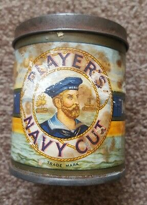 Vintage Round Cigarette Tin Players Navy Cut Medium- 50 Cigarette Size Tobacco