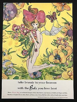 1960 Vintage Print Ad 1960s Fashion Style FLOWER BALI Yellow Illustration Bra