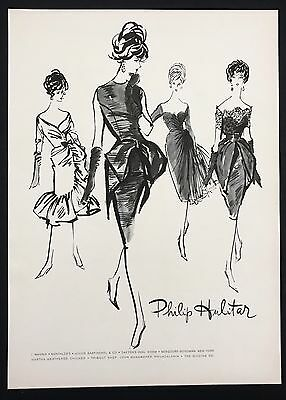 1960 Vintage Print Ad 1960s Fashion Style PHILIP HULITAR Illustration Art Dress