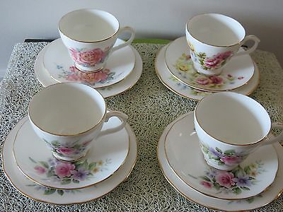 Vintage Duchess flowers trio - cup, saucer, plate; sold by sets of 3 items