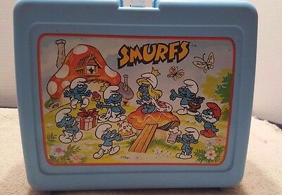 Vintage Thermos Smurfs Lunch Box with Thermos