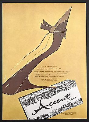 1960 Vintage Print Ad 1960s Style ACCENT SHOES Foot Fashion Illustration Art