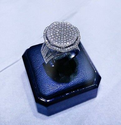 10ct Solid White Gold Women Cocktail Genuine Diamond Ring