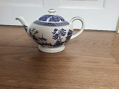 Old Willow Ironstone Pottery Blue and White Oriental Teapot