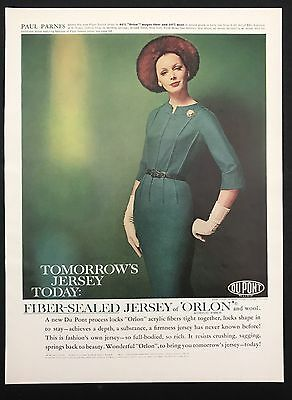 1960 Vintage Print Ad 1960s Fashion Style DUPONT Orlon Process Green Dress