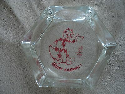 vintage 60's REDDY KILOWATT Glass advertising ASHTRAY