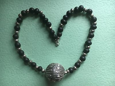 Vintage Yemeni Silver & Wood Hand Carved Necklace