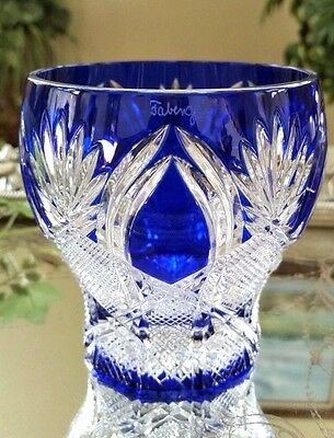 FABERGE Imperial CZAR Blue Cut to Clear Crystal Votive Candle Holder SIGNED!