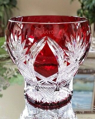 FABERGE Imperial CZAR Ruby Red Cut to Clear Crystal Votive Candle Holder SIGNED!