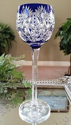 "Vintage St Louis Florence Cobalt Blue Cut to Clear Crystal 9.5"" Tall Wine Goblet"