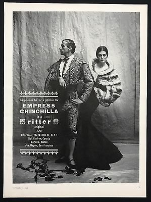 1960 Vintage Print Ad 1960s Fashion Style EMPRESS CHINCHILLA Bull Fighter Image