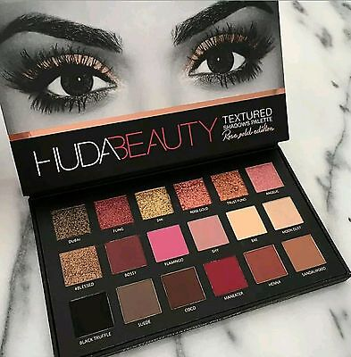 HUDA BEAUTY Textured Eye Shadows Palette Rose Gold Edition 18 Colours Brand New