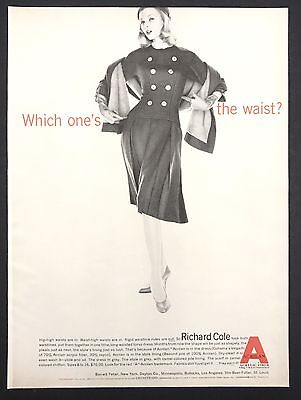1960 Vintage Print Ad 1960s Fashion Style RICHARD COLE Slim Fit Dress