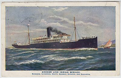 ANCHOR SHIPPING LINE - India Service - Ocean Liner - c1900s era used postcard