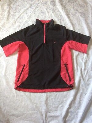 Ladies Windproof Golf Top - By Nike - Size L - Black & Pink - Windcheater