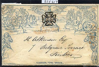 Gb 1840 2D Mulready Letter Sheet Used With Black Maltese Cross