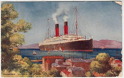 RMS LACONIA AT FIUME - Cunard Ocean Liner - Torpedoed WW1 - 1914 used postcard