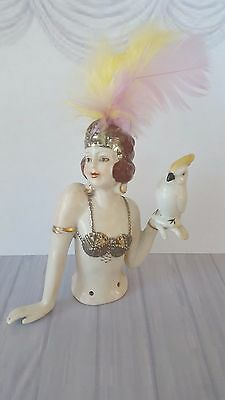 Terrific Art Deco 1920's Style Mata Hari Lady & Cockatoo Half Pin Cushion Doll