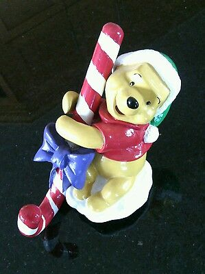 Disney's Winnie Pooh Hugging Candy Cane Beautiful Figurine Hanging Holidays Gift