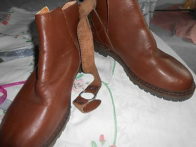 mens size 10 handmade leather brown boots with strap fastening. new without box