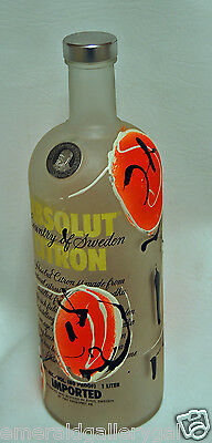Ultra Rare Original Absolut Vodka Bottle ARNALDO DIAZ (empty) - Orange
