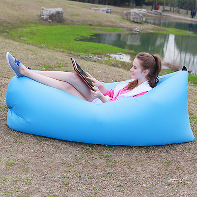 Inflatable Air Sofa Bed Lazy Sleeping Camping Bag Beach Hangout Couch Windbed T9