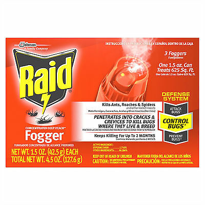 Insect Spray Fogger Bug Killer Roach Ant Spider Home Indoor Pest Control 3 Pack