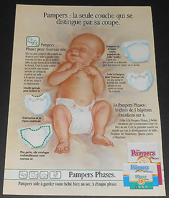 1989 vintage ad page - PAMPERS PHASES DIAPERS - DISNEY - 1-PAGE ADVERT rare!
