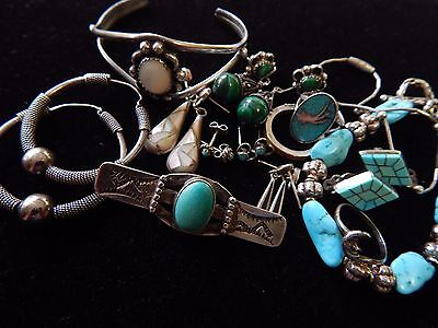Vintage Sterling Silver Malachite Turquoise Larimar Jewelry Bracelet  Lot
