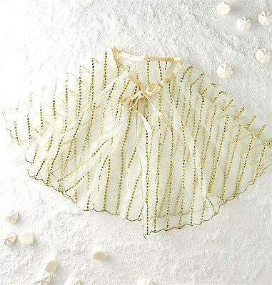 New Anthropologie Bhldn Wedding Ivory Gold Mini Cape Capelet One Size Fits All