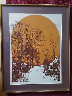 Mod 1970s Lithograph Country Road Orange Brown Glass Framed #163/375