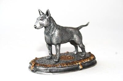 Bull terrier on carpet statuette, dog miniature pewter figurine, silver color