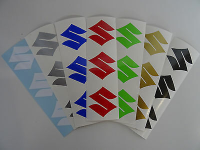 "3 x Small SUZUKI ""S"" Vinyl Decals Stickers For Bellypan Tank Swingarm Helmet etc"