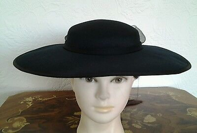 Black Fabric Large Brim Wedding Hat with Net Bow at back