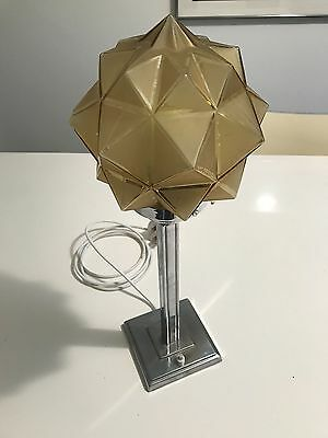 Superb Stepped Chrome Art Deco Style Lamp With Shade