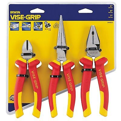 Irwin  Electricians Plier Set 1000V VDE Insulated VISE-GRIP 3 Piece + FREE GIFT