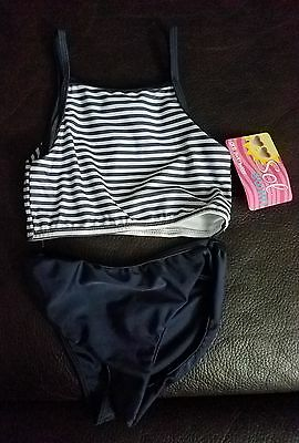 Girls Size 6 Two Piece White And Navy Blue Striped Tankini Swimsuit Sol Swim Nwt