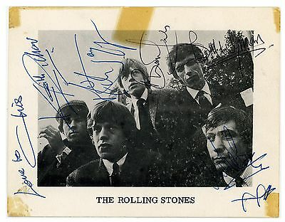Rolling Stones Fully Signed Autographed Promo Card Decca Brian Jones Coa