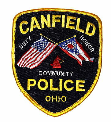 CANFIELD OHIO OH Police Sheriff Patch STATE FLAG STATE BIRD RED CARDINAL ~